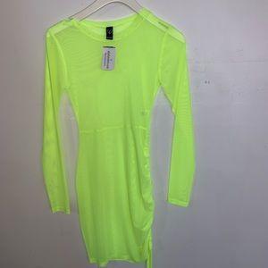 See-Through Long Sleeve Neon Dress
